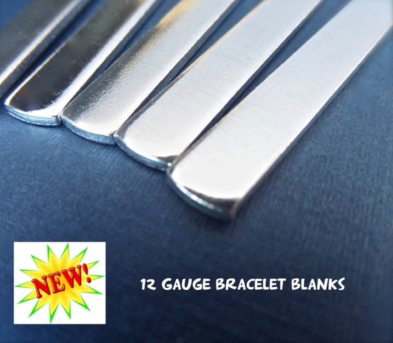 """10 Blanks 12G 1/4"""" x 5"""" Metal Stamping Cuff Blank Tumbled Polished - Very Thick Pure 1100 Aluminum Bracelet Blank - Flat - Made in USA"""