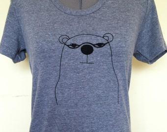 Bear T Shirt Womens Slim Fit Athletic Grey Professor Bear