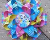 Disney Princess Inspired Custom Boutique 3 Layer Loopy Flower Hair Bow Cinderella Aurora Belle Ariel Jasmine Snow White