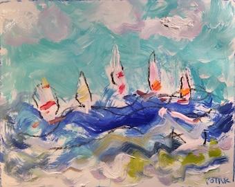 Sailboat regatta painting blue ocean wind waves beach water sails and racing sailboats original acrylic art seascape painting Potak on Etsy