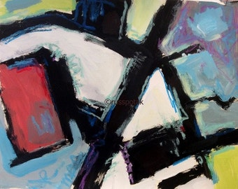 Abstract Expressionist Painting in Red, green, blue, black and white Modern Art