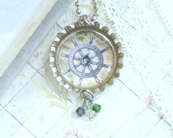 Wheel Necklace Nautical Necklace Ocean Necklace Bottle Cap Necklace Ship Wheel Jewelry Nautical Gift