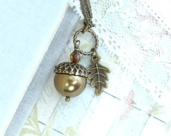 Acorn Necklace Woodland Jewelry Forest Necklace Acorn Jewelry Fall Necklace Autumn Jewelry Acorn Pendant