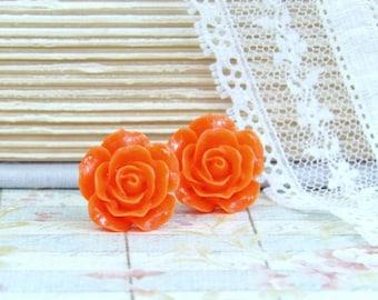Orange Rose Earrings Flower Stud Earrings Rose Studs Surgical Steel Orange Flower Studs Rose Stud Earrings