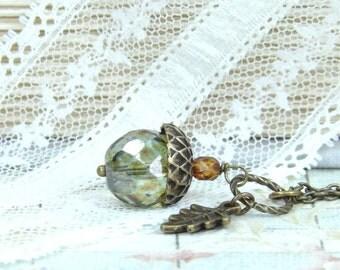 Fall Necklace Acorn Jewelry Autumn Necklace Woodland Jewelry Acorn Necklace Nature Jewelry Acorn Pendant