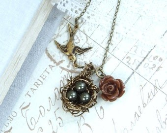 Pearl Nest Necklace Woodland Necklace Egg Nest Necklace Nature Necklace Nest Pendant Nest Jewelry