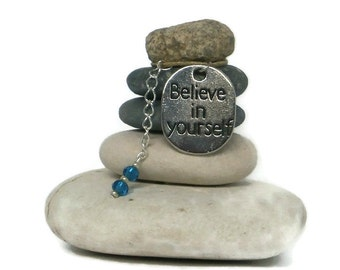 Believe in Yourself Rock Cairn, Stacked Stone, Inspirational, Spiritual, Gratitude, Hope, Meditate, Secret Santa, Positive Energy, Desk Gift