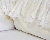 Reserved for Teri - PEONY...bumper cover and bed skirt...off white velvet with lace & a pillow cover