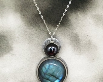 Enda labradorite and garnet solstice pendant