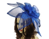 Carnation Royal Blue Fascinator Hat for Melbourne Cup, Kentucky Derby & Ascot