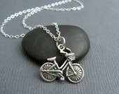 sterling silver bike necklace. simple bicycle pendant. bike basket charm. spokes boho love whimsical fun gift for girls women sports jewelry