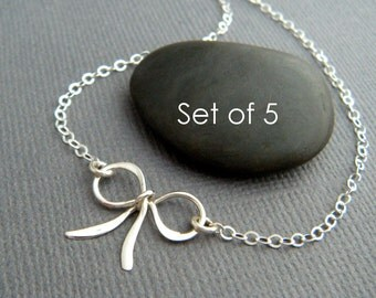 """Set of 5. small silver bow necklace. sterling silver bridesmaid gift petite small ribbon tiny forget me knot tie wedding bridal jewelry 5/8"""""""