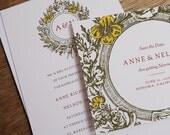 Printable Wedding Invitation & Save the Date Template - Vintage Wreath Monogram - Instant Download - Wedding Invite and Save the Date PDF