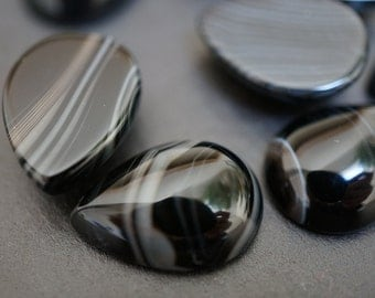 Natural Striped Black with White Stripe Black Agate Tear Drop Shape Cabochons 13mm x 18mm - 2 pieces (No Coupons)