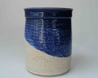 Deep Blue and Oatmeal MADE TO ORDER Handmade Stoneware Utensil Holder, Kitchen Crock, Wine Cooler, Blue with Oatmeal