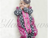 Cotton ruffle romper and floral headband. ON SALE.Ruffle romper..baby girl sleeper...romper... Hospital outfit