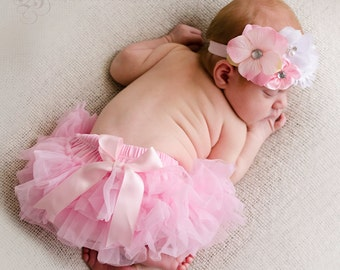 SALE PRICED...Shabby Floral Baby headband and Bloomer Set..Full chiffon Bloomers.Hair bow and Diaper Cover...