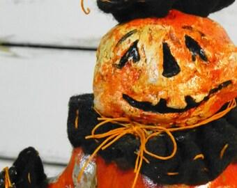 One of a Kind Sculpted Halloween Paper Mache Folk Art Pumpkin