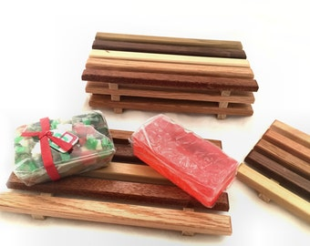 Over-sized spa soap dish - Handcrafted from a wide variety of reclaimed wood - 4 x 7.75 inches
