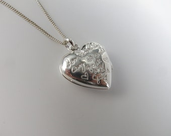 Sterling silver heart shape Locket  hand engraved Love this Life