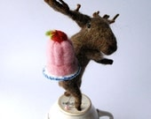 Original Needle Felted Eeek a Moose with Strawberry Mousse   By Miss Bumbles