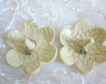 "Light yellow ring organizer, jewelry tray, Gift for Nana 3.5"" wide"