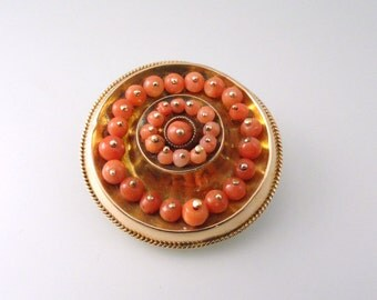 A Yellow Gold and Red Coral Bead, Mid-Victorian Era Brooch, Circle Design (A1074)