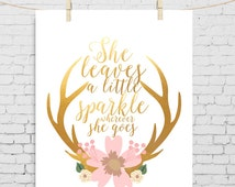 she leaves a little sparkle Baby Girl gold nursery gift for niece gift for granddaughter 1st birthday gifts nursery print grand baby gift