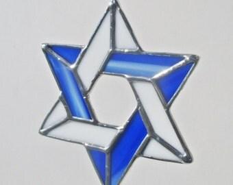Star of David Stained Glass Suncatcher or Hanukkah Decoration