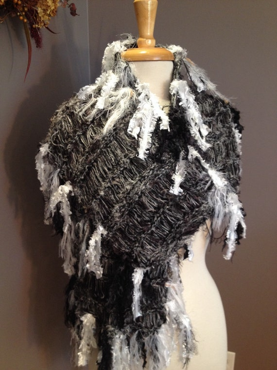 Wide heirloom quality multi-texture scarf, hand knit black and white scarf, black and white, black white shawl, ribbon scarf, fringe scarf