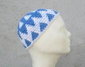 men's cotton kufi/ ocean blue white pattern crochet- made to order