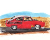Reserved for Sheila, Henry J, Custom Drawing, Hot Rod, Red