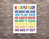 Playroom Rules,Playroom Sign,Playroom Art, Playroom Decor, Playroom Wall Decor, Childrens Wall Art, Digital Download Art, Kids Wall Art