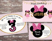 Minnie Mouse Birthday Invitations, Girls Birthday Invitations, Minnie Mouse Backdrop, Minnie Mouse Thank You Cards, DIY PRINTABLE Art