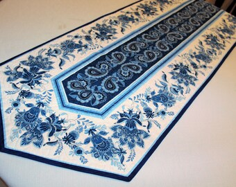 Delft Blue Table Runner Quilt - Large Blue and White Quilted Table Runner - Paisley Runner, Dining Room Decor