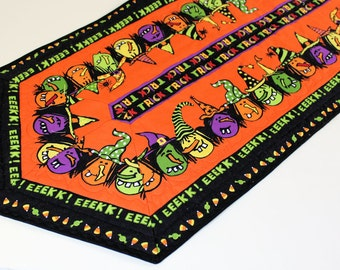 Halloween Witches Quilted Table Runner - Large Orange and Black Table Runner Quilt, Witches Table Decor, Quiltsy Handmade