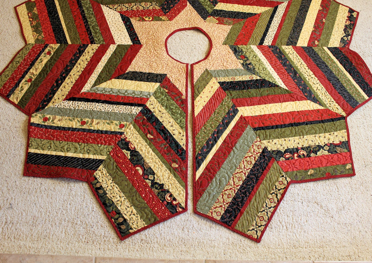 Large Christmas Tree Skirt Quilt 72 Inch Diameter Scrappy