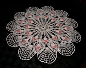 Crocheted Round White Doily with Red Beads  Free Shipping to Canada and USA except Hawaii