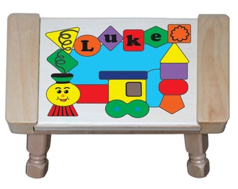 Personalized Name Train Theme Wooden Childrens Puzzle Step Stool...Teaching a preschool toddler  sc 1 st  Etsy & Train step stool | Etsy islam-shia.org