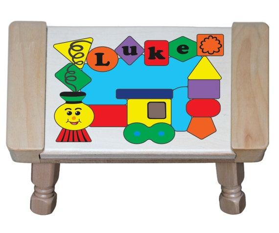 Personalized Name Train Theme Wooden Childrens Puzzle Step