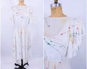 1980s dress vintage 80s sheer white paint splatter flutter sleeve dress M