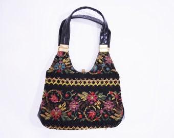 1960s tapestry bag | black tapestry double strap shoulder bag | vintage 60s purse