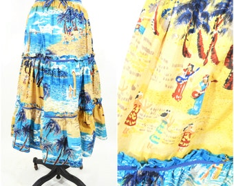 "1970s skirt vintage 70s hawaiian novelty print tropical hula cotton skirt XXS W 22"""