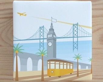 Tram at the Ferry Building Canvas Art - San Francisco, Print, Nursery