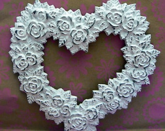 Rose Heart Ornate Decorative Cast Iron Wall Decor Plaque in White Distressed Shabby Style Chic French Decor, Paris,
