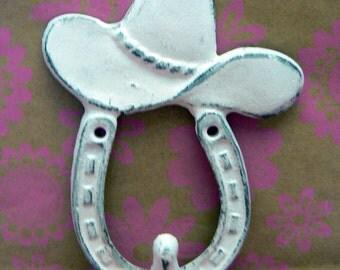 Cowboy Hat Horseshoe Cast Iron Hook White Shabby Chic Home Decor