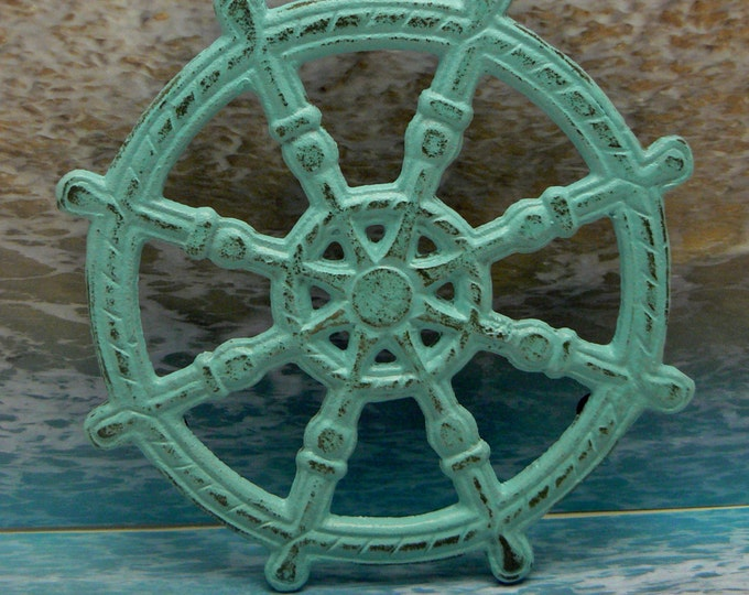 Ships Wheel Helm Cast Iron Trivet Blue Shabby Chic Cottage Chic Beach Nautical Kitchen Decor