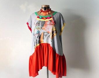 Colorful Shirt Plus Size Bohemian Reconstruct T-Shirt Loose Oversize Orange Boho Tunic Eco Chic Upcycled Clothing Art Clothes 1X 2X 'WHITNEY