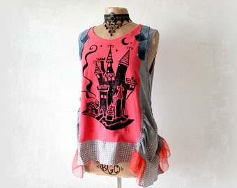 Boho Chic Top Fun Clothing Fairytale Castle Women's Rustic Shirt Altered Couture Bohemian Tank Woodland Pixie Creative Artsy Top L 'ROXANNE'