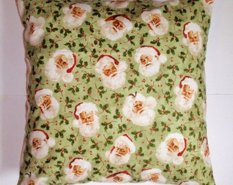 SUMMER SALE - Handmade CHRISTMAS Throw Pillow Cover, Santa Claus in Green Pillow Cover, Christmas Cushion Cover, Santa Accent Pillow Cover